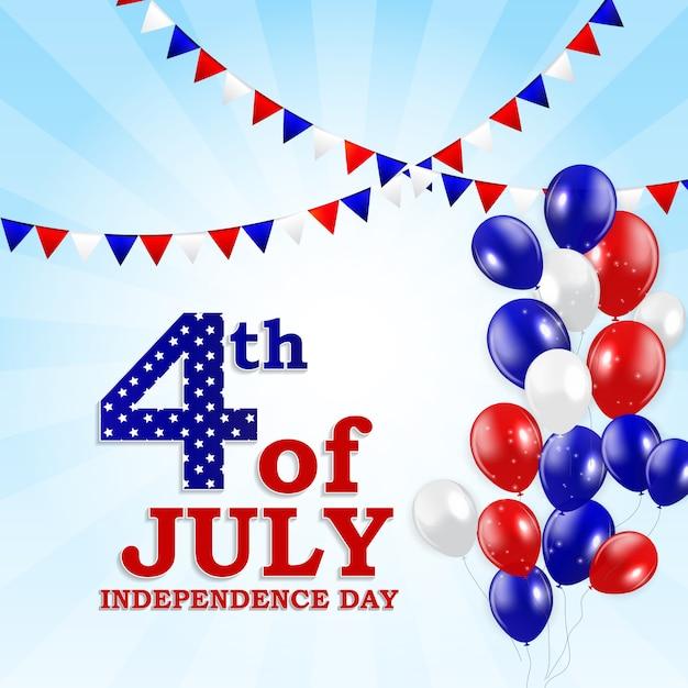 Le 4 juillet, jour de l'indépendance des états-unis. carte de voeux Vecteur Premium