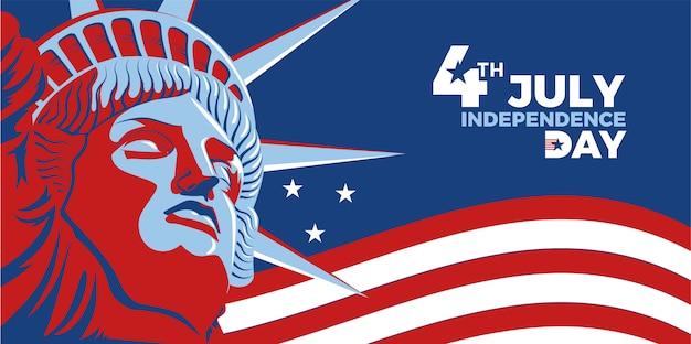 4 Juillet - Jour De L'indépendance Vecteur Premium