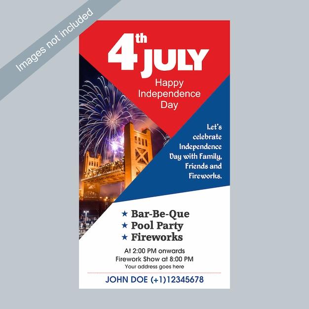 4 juillet modèle de célébration de la fête de l'indépendance des états-unis avec la famille, les amis et les feux d'artifice. Vecteur Premium