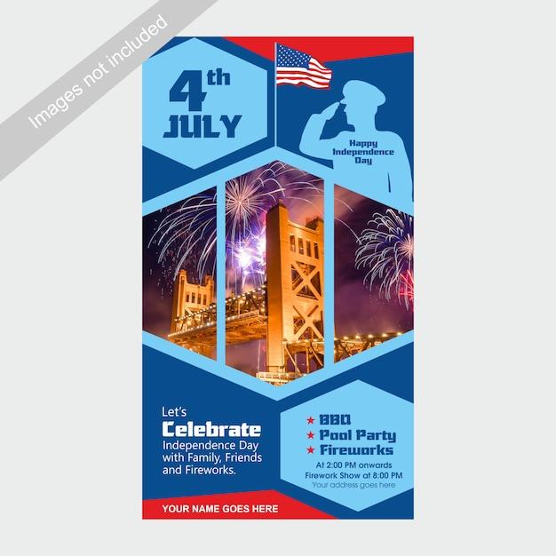 Le 4 juillet, modèle d'invitation pour le jour de l'indépendance des états-unis avec barbecue, fête au bord de la piscine et attraction de feux d'artifice Vecteur Premium