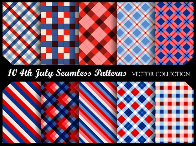 4 juillet des patrons sans couture patriotiques Vecteur Premium