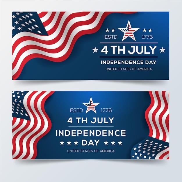 4 Juillet Réaliste - Bannières De La Fête De L'indépendance Vecteur gratuit