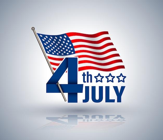 4 Juillet, Ruban Rouge Avec La Vedette Américaine Vecteur Premium