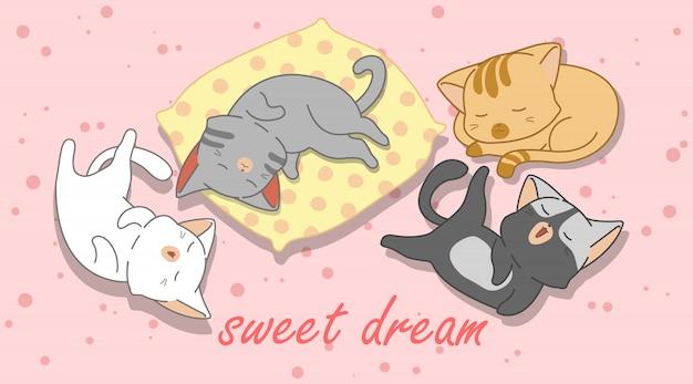 4 petits chats dorment. Vecteur Premium