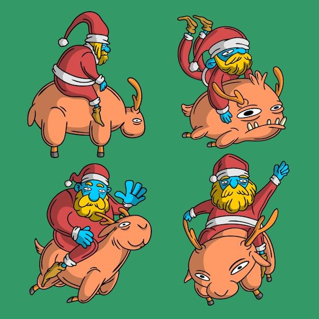 4 santa style cerf dessiné à la main Vecteur Premium
