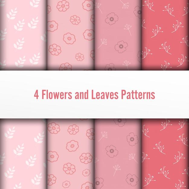 4 set fleurs et feuilles de vecteur des modèles sans soudure. la texture chic et romantique peut être utilisée pour l'impression sur des tissus et du papier ou pour la réservation de chutes. couleurs roses. Vecteur Premium