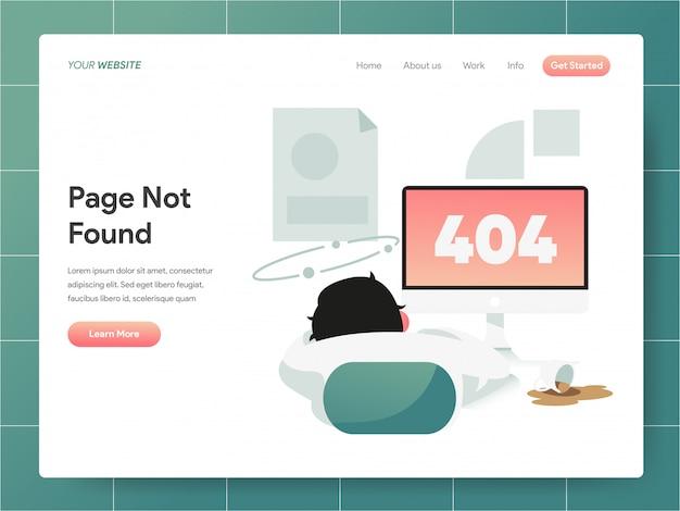 404 error page not found bannière de la page de destination Vecteur Premium