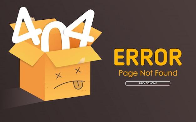 404 face de la boîte Vecteur Premium