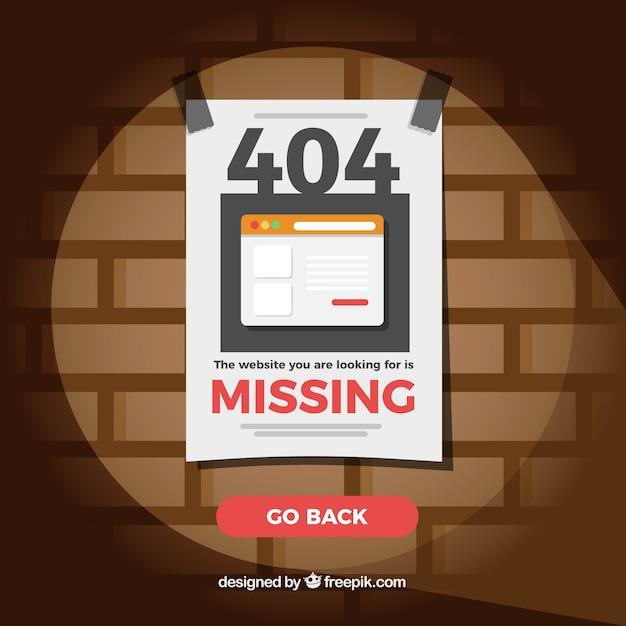 404 Fond D'erreur Avec Du Papier Manquant Vecteur gratuit