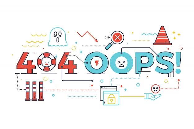 404 oups! mot pour internet site web page introuvable concept lettrage design illustration Vecteur Premium