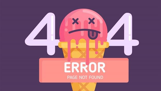 404 page d'erreur de crème glacée introuvable vecteur plat Vecteur Premium