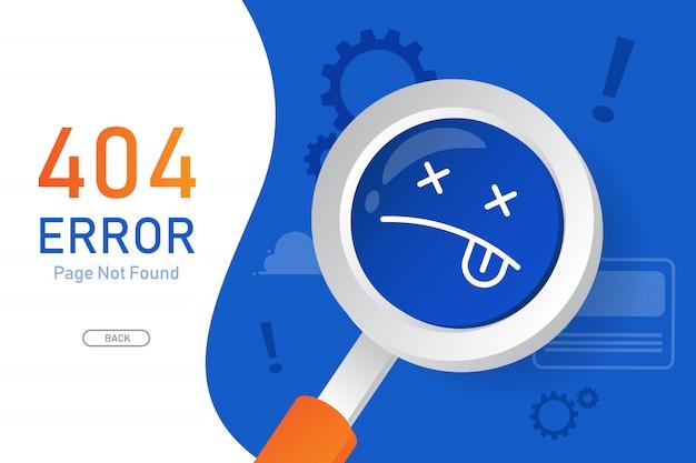 404 Page D'erreur Introuvable Vecteur Avec Modèle De Conception Graphique En Forme De Loupe Pour Site Web Vecteur Premium
