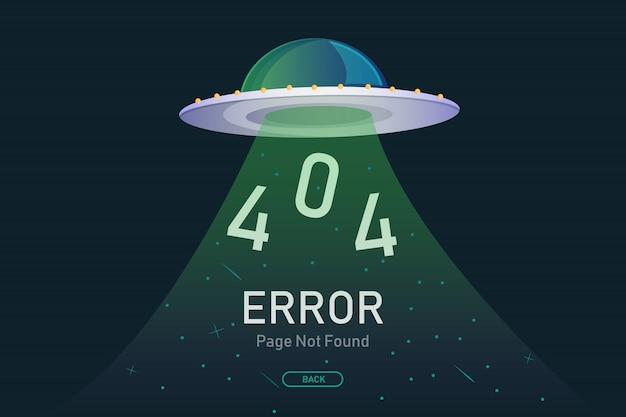 404 page d'erreur introuvable vecteur avec ufo Vecteur Premium