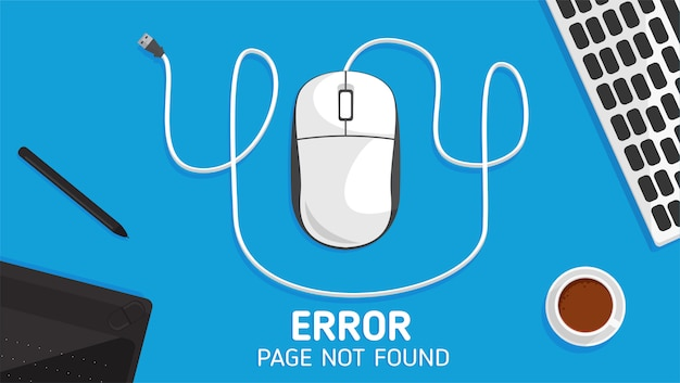 404 Page D'erreur De La Souris Non Trouvée à Plat Vecteur Premium