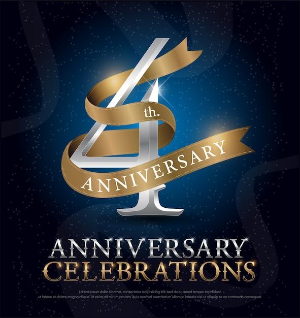 4ème Anniversaire Célébration Argent Et Ruban D'or Vecteur Premium