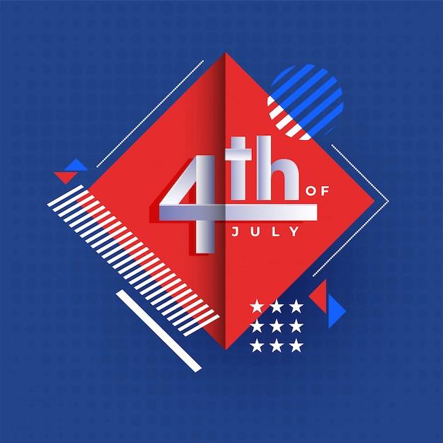 4th of july, affiche de la fête de l'indépendance ou modèle de conception avec abs Vecteur Premium