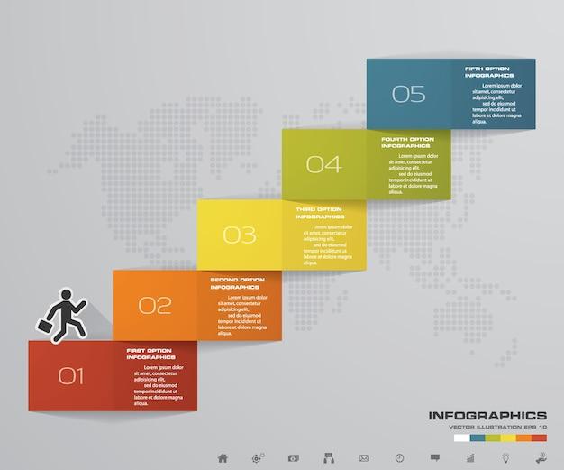 5 étapes escalier élément infographique pour la présentation. Vecteur Premium