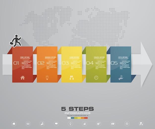 5 étapes de flèche modèle infografics pour la présentation. Vecteur Premium