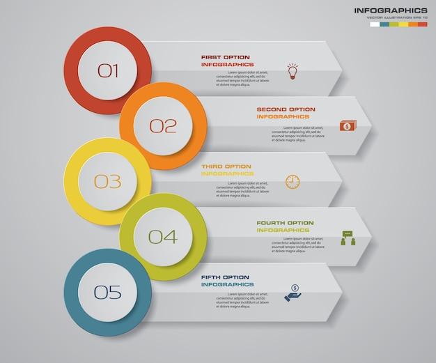 5 étapes infographie élément graphique modèle de flèche. Vecteur Premium