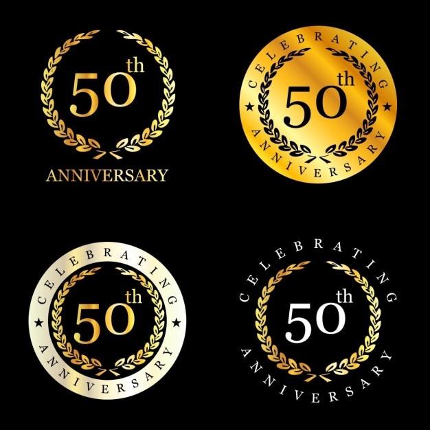 50 ans célébrer couronne de laurier Vecteur gratuit