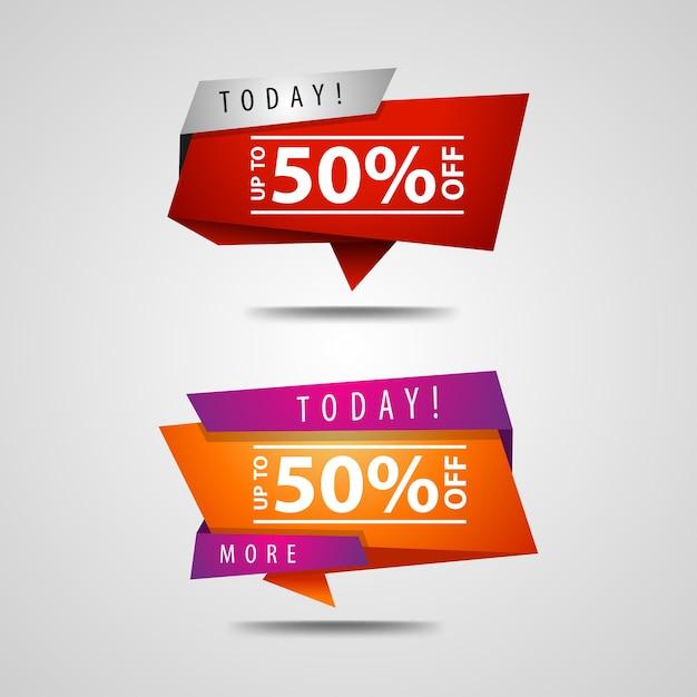 50% de réduction sur la bannière Vecteur Premium