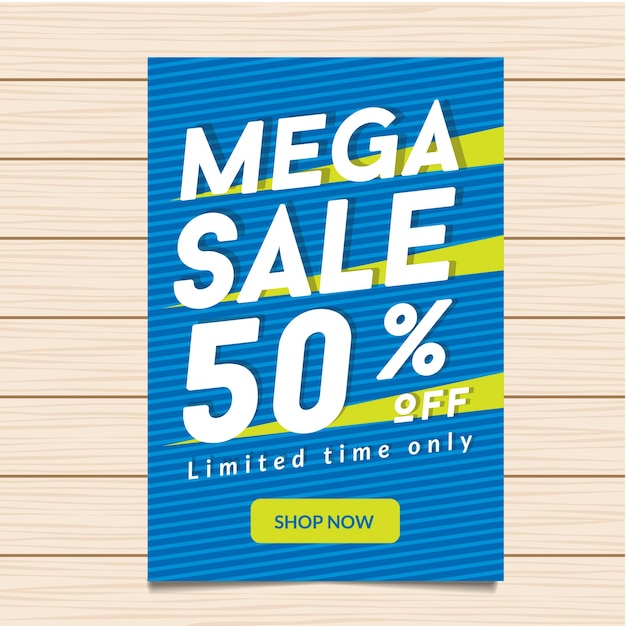 50% de réduction sur l'illustration de la bannière mega sale Vecteur Premium