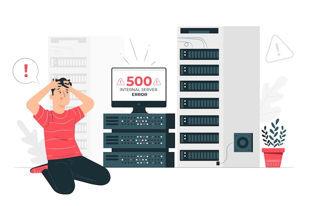 500 Illustration De Concept D'erreur De Serveur Interne Vecteur gratuit