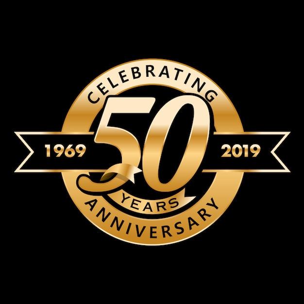 50ème Anniversaire Vecteur Premium