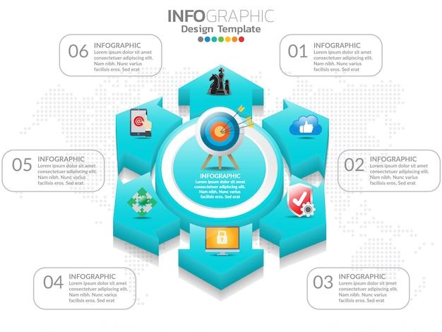 6 étapes du modèle de conception infographie chronologie avec options, diagramme de processus. Vecteur Premium