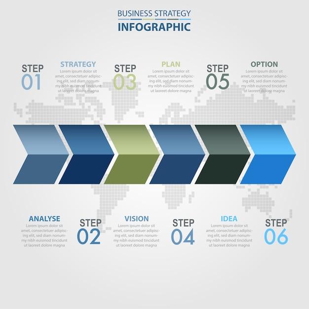 6 étapes moderne et propre modèle de conception business infographics Vecteur Premium