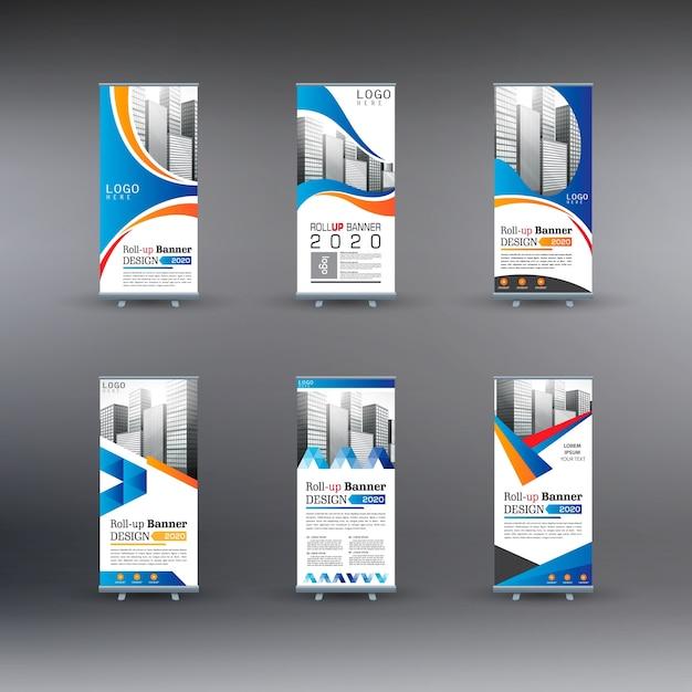6 set roll up bannière d'entreprise Vecteur Premium