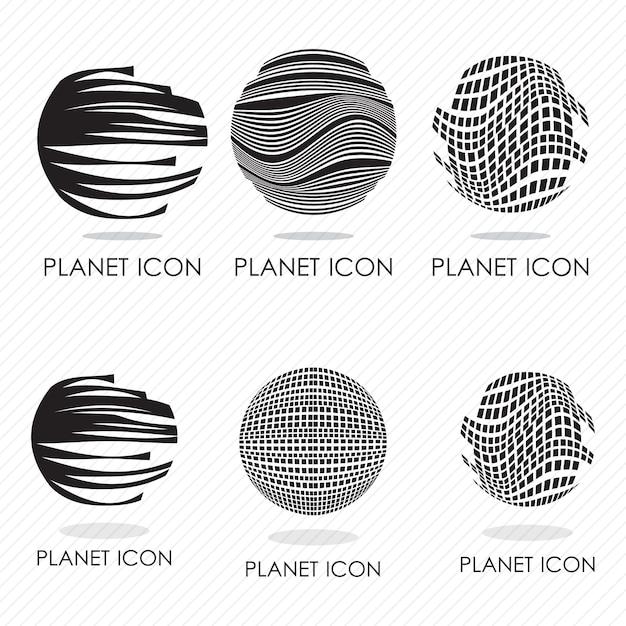 6 silhouettes d'icônes planète différentes vector illustration Vecteur Premium