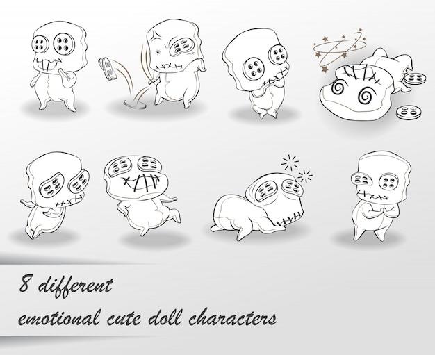 8 différents personnages de poupée mignonne doodle. Vecteur Premium