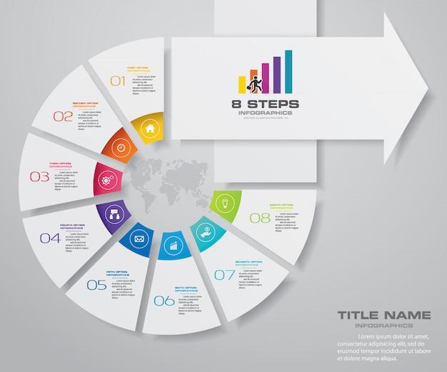 8 étapes du modèle de flèche infografics. Vecteur Premium