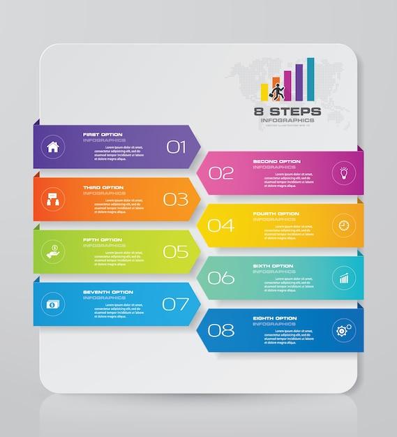 8 étapes représentent les éléments infographiques pour la présentation des données. Vecteur Premium