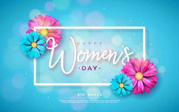 8 Mars. Carte De Voeux Floral Happy Women's Day. Vecteur gratuit