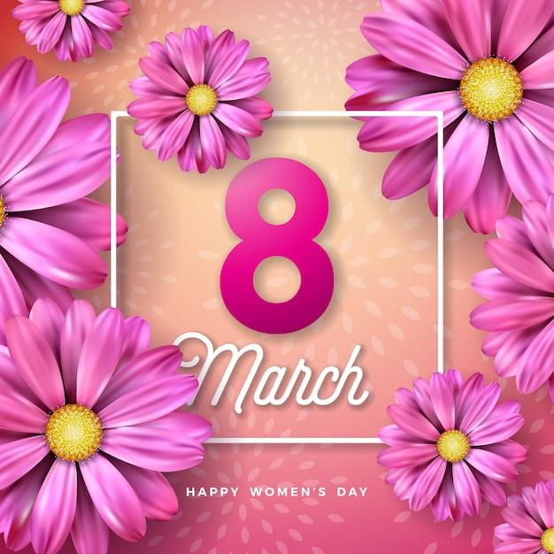 8 Mars. Carte De Voeux Floral Happy Womens Day. Illustration De Vacances Internationales Avec Conception De Fleurs Sur Fond Rose. Vecteur gratuit