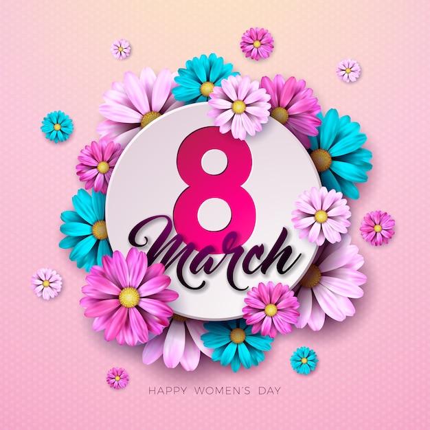 8 Mars. Carte De Voeux Floral Happy Womens Day. Vecteur gratuit