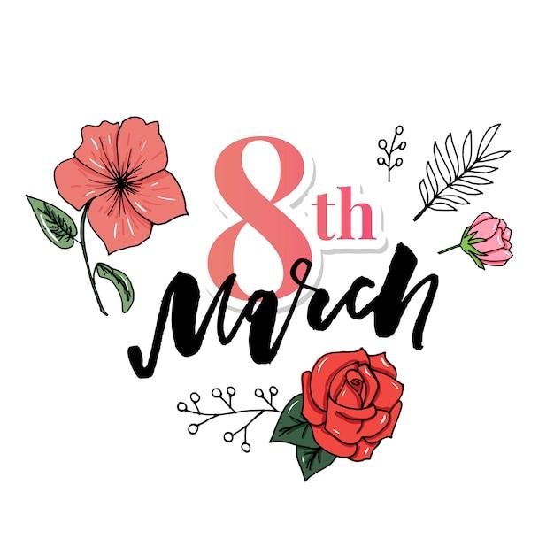 8 mars carte de voeux pour la journée internationale de la femme. Vecteur Premium