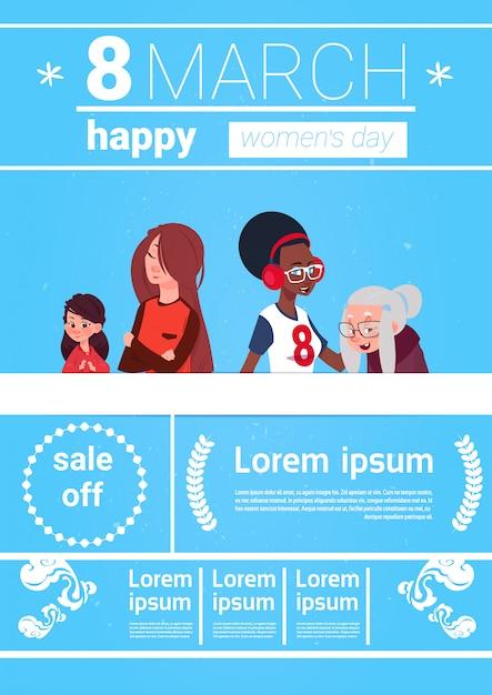 8 mars infographie bannière éléments de modèle pour la journée internationale de la femme avec différentes dames sur fond avec espace de copie Vecteur Premium