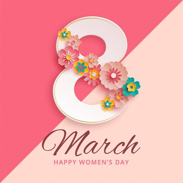 8 mars journée internationale de la femme avec des fleurs en papier Vecteur Premium