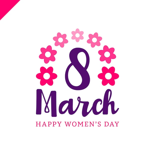 8 mars joyeux womans jour lettrage carte de voeux avec fleur. Vecteur Premium