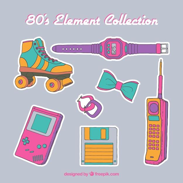 80s Collection D'éléments Vecteur gratuit