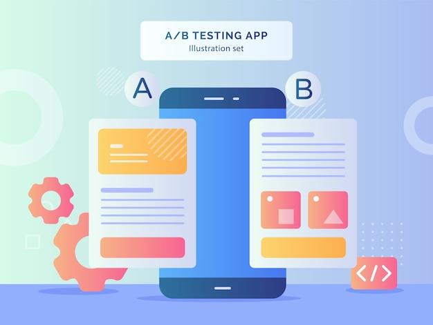 Ab Testing App Illustration Set Résultat Comparant Deux Pages De Site Web Filaire Mobile Sur Smartphone Avec Design De Style Plat Vecteur Premium