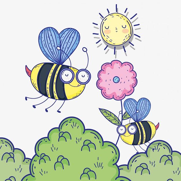 Abeilles insectes animaux avec fleur et soleil Vecteur Premium