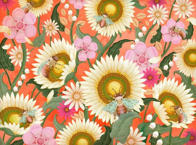 Abeilles à Miel Et Fond De Fleurs, Style D'ombrage Rétro Dessiné à La Main Dans Des Tons Colorés Vecteur Premium