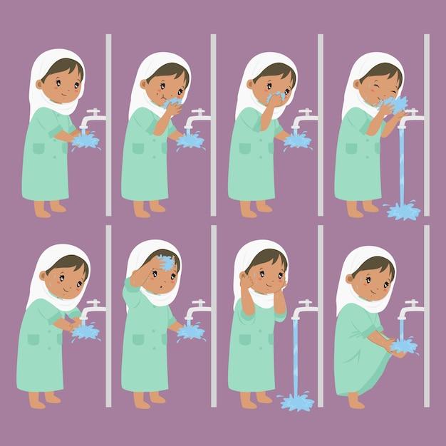 Ablution, étapes De Wudhu Pour La Collecte Des Enfants Vecteur Premium