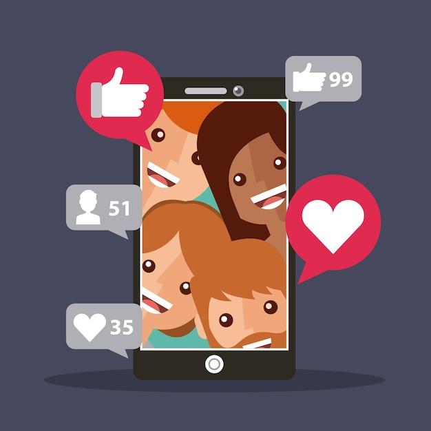 Les abonnés à un téléphone mobile affichent un contenu avec j'aime Vecteur Premium