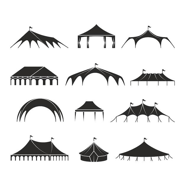 Abri extérieur tente, icônes vectorielles des tentes pavillon événement Vecteur Premium