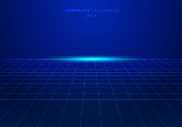 Abstrac technologie numérique fond carré modèle grille bleue Vecteur Premium